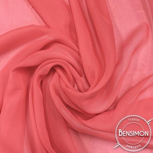 Tissu Mousseline - Corail X 50cm