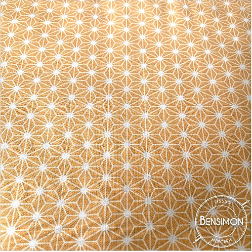 Tissu coton imprimés - Motifs japonais New Saki B - Safran X 50cm