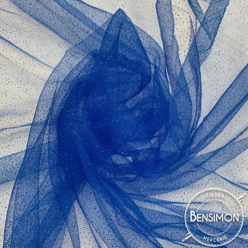 Tissu Tulle à paillettes - Bleu Roi X 1M