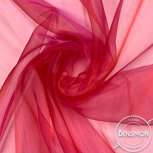 Tissu Organza reflets changeants - Fuchsia X 50cm