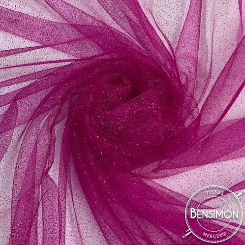 Tissu Tulle à paillettes - Fuchsia X 1M