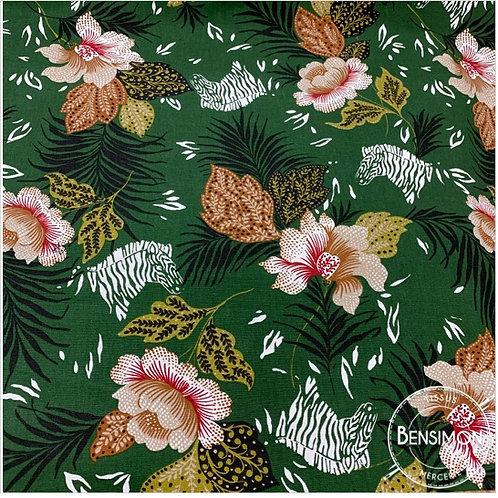 Tissu Demi natté 100% coton - Jungle zebra X 50cm