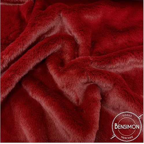Tissu fausse Fourrure Vison - Bordeaux X 50cm