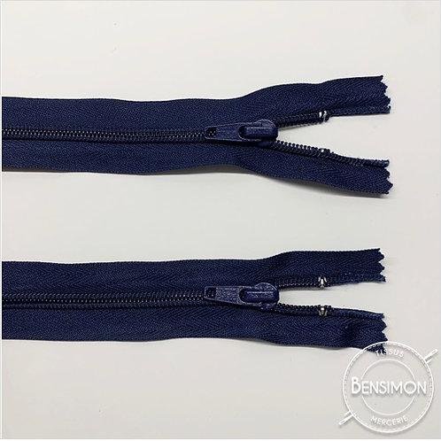 10 Fermetures spirale 5mm double curseur 60cm - Bleu Marine