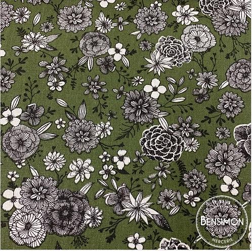 Tissu coton imprimés - Floral kaki X 50cm