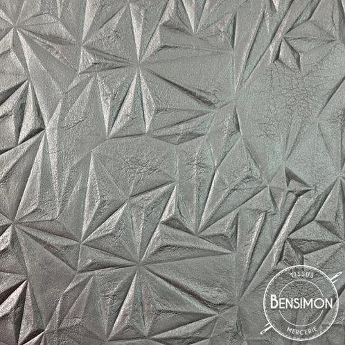 Tissu Simili Cuir Relief - Argent X 50cm