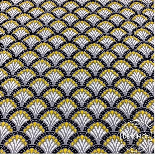 Tissu coton imprimés - Eventail Dimitri moutarde X 50cm