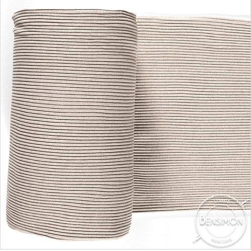 Tissu bord côte tubulaire - Beige chiné X 50cm