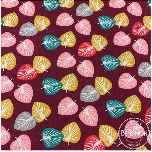 Tissu coton imprimés - Ginkgo lie de vin X 50cm