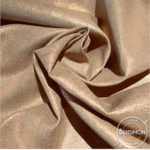 Tissu Lin enduit métallisé - Cuivré X 50cm