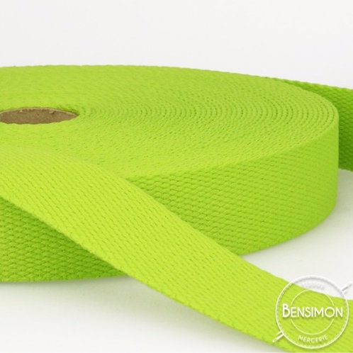 Sangle 100% coton 30mm vert anis