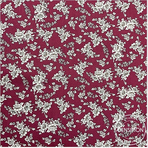 Tissu coton imprimés - Fleurs Eva bordeaux X 50cm