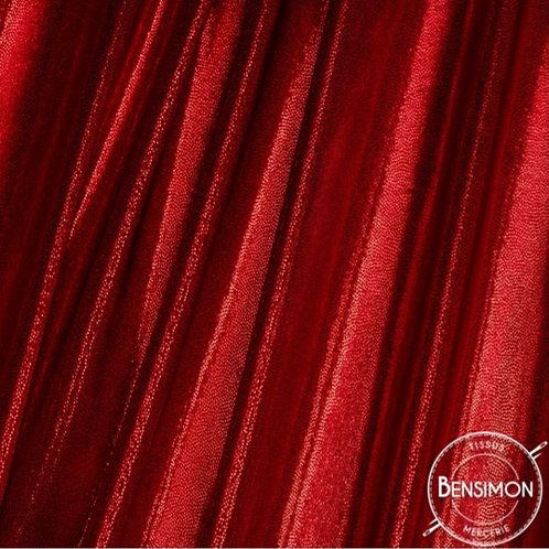 Tissu extensible Lycra stretch lamé brillant pailleté justaucorps académique rouge