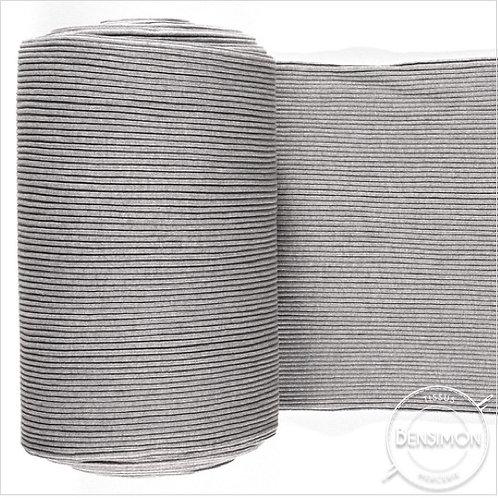 Tissu bord côte tubulaire - Gris clair chiné X 50cm