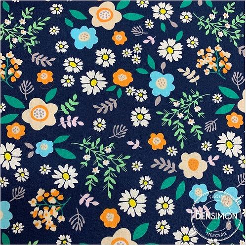 Tissu coton imprimés - Fleurs Liberty Emma bleu X 50cm