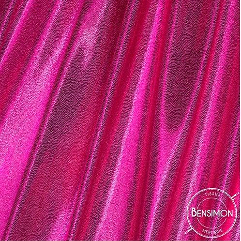 Tissu extensible Lycra stretch lamé brillant pailleté justaucorps académique fuchsia fluorescent