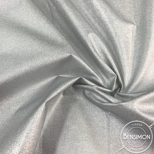Tissu coton enduit métallisé argent