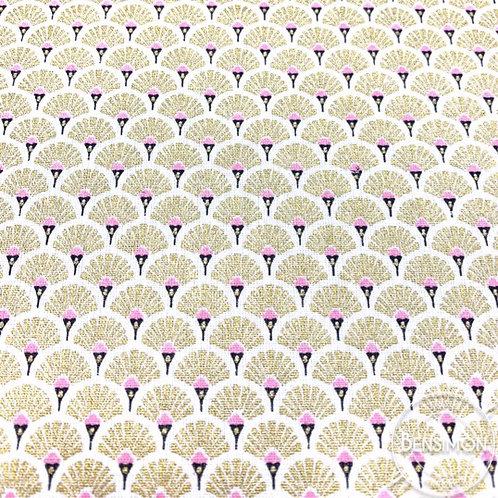 Tissu coton imprimé oekotex eventails dorés lurex
