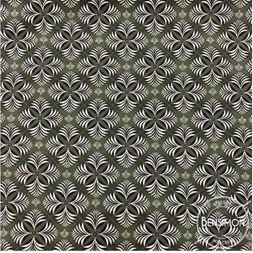 Tissu coton imprimés - Coumba rosaces kaki X 50cm