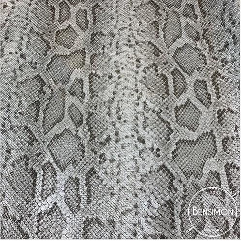 Tissu Simili Cuir Serpent - Argenté X 50cm