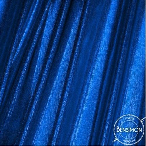 Tissu extensible Lycra stretch lamé brillant pailleté justaucorps académique bleu roi