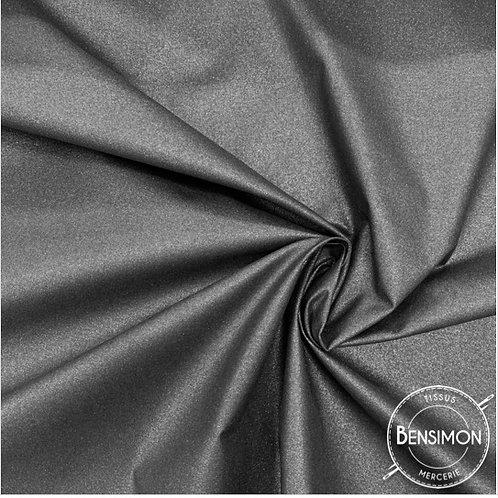 Tissu Coton enduit métallisé - Noir X 50cm