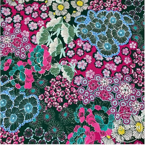 Tissu coton imprimés - Flowers Martine pétrole X 50cm