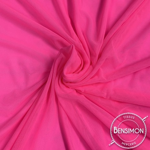 Tissu Tulle élasthanne résille - Rose Fluo X 1M