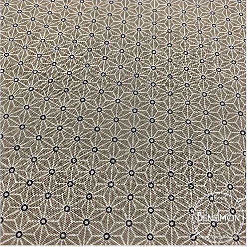 Tissu coton imprimés - Motifs japonais Saki beige X 50cm