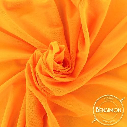 Tissu Tulle élasthanne résille - Orange X 1M