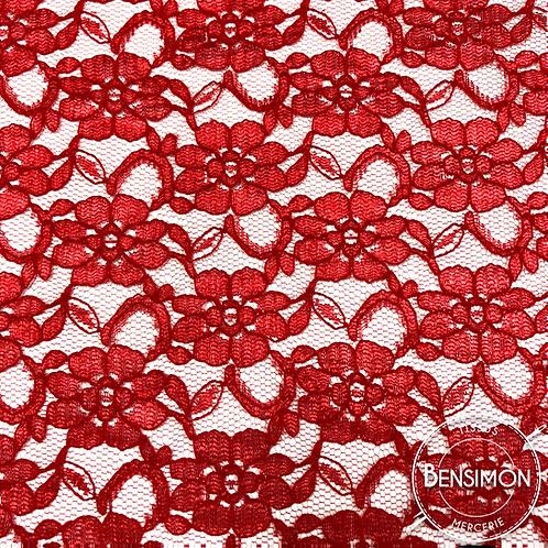 Dentelle à fleurs Alice - Rouge X50cm