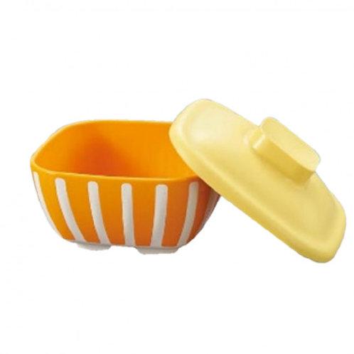 日本Sanshin保溫方碗連蓋 (橙色/啡色)