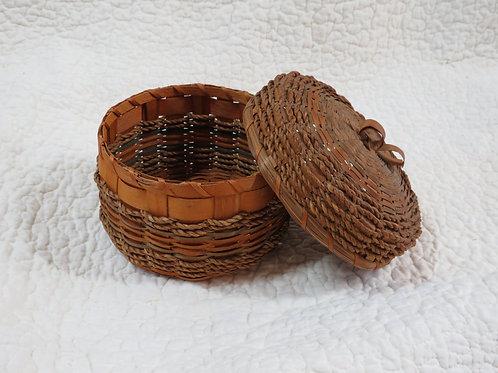 Round Covered Basket Vintage