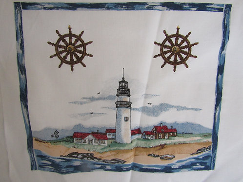Vintage Nautical Scene with Light House printed on Canvas Sewing Panel