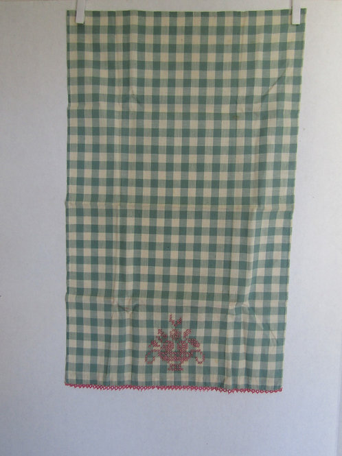 Gingham Embroidered Towel Pink and Green Vintage Item