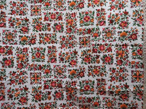 "Floral Cotton Fabric 1 yard x 44"" Vintage"