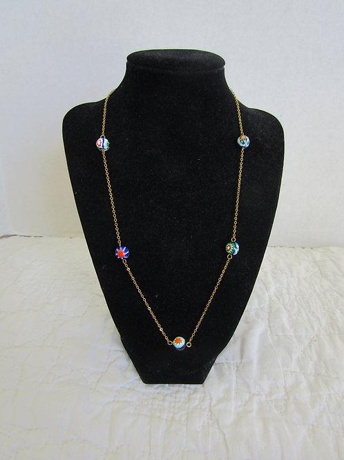 Necklace Gold tone with Ceramic beads Retro item
