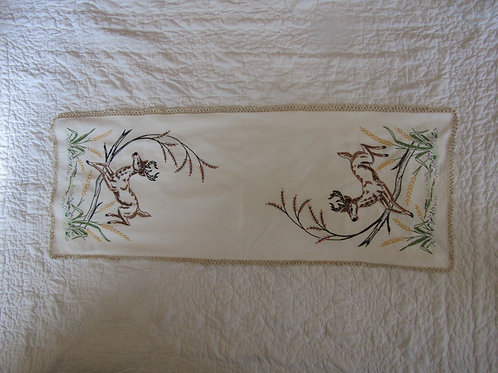 Vintage Embroidered Linen or Table Scarf with Lace Edge Deer