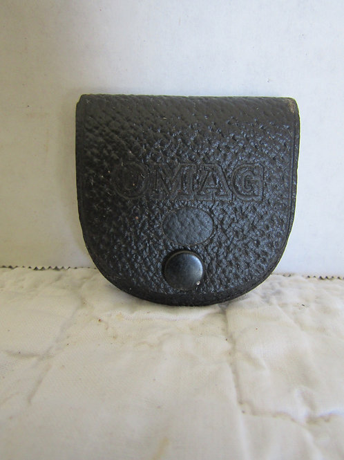 Small Vintage Leather Pouch OMAG on the flap snap closure