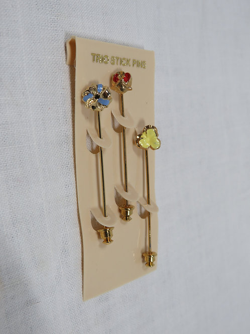 3 Stick Pins Brooches flowers nos Vintage
