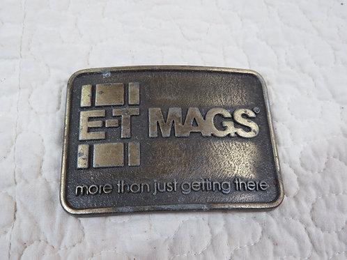 E T Mags Brass Belt Buckle nos Vintage