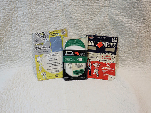 3 Patches Mending fabric NOS Vintage