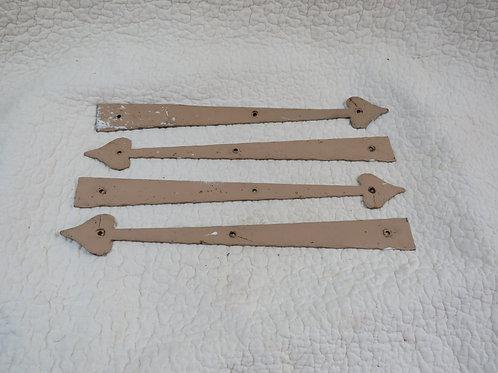 4 Metal Hinges Metal Arrow Vintage