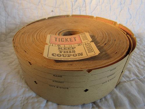 Vintage raffle tickets by the Globe Ticket Company