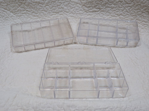 3 Clear Plastic Storage Containers Vintage