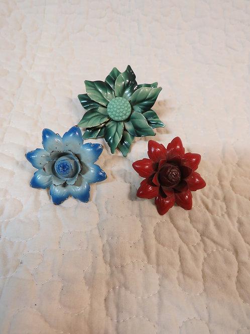 3 Drapery Pins multi color Flowers Vintage
