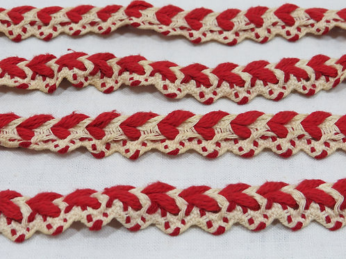 Braided Trim Red Off White 1 7/8 yards x 5/8 inches wide