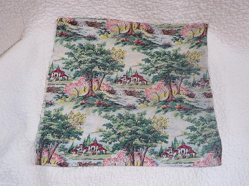 Bark cloth Pillow Sham Vintage Item