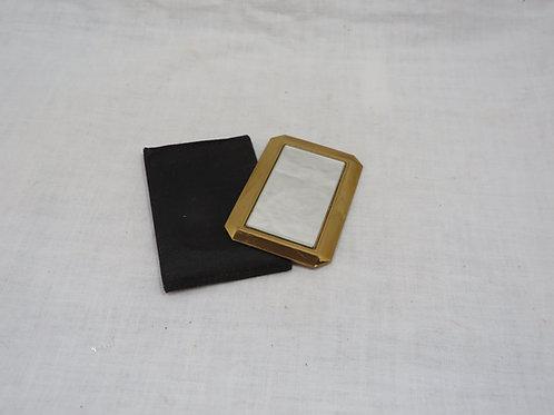 Pocket Mirror Taffeta Case Brass Frame back Vintage
