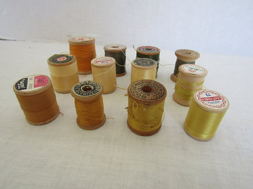 Wood Thread Spools yellow gold green Vintage Items